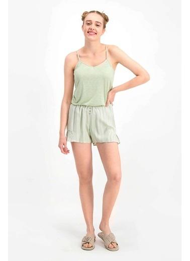 Arnetta Basic Krem Kadın Şort Takım Yeşil